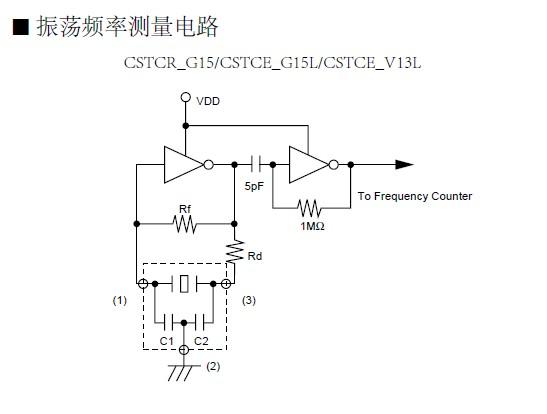 cstce-v13l,村田晶振,陶瓷谐振器 振荡频率测量电路图